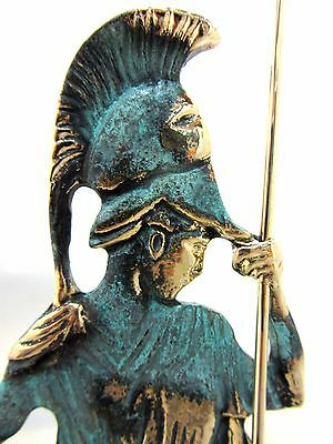Ancient Greek Bronze Museum Statue Replica Athena Wth Helmet & Spear Collectable 4