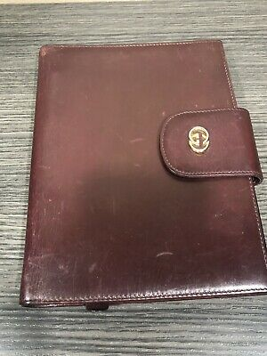 GUCCI Vintage Gold GG Logo Agenda Day Planner Binder Cover Leather Italy 4