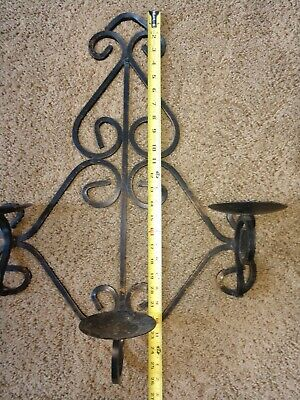 Vintage Gothic Medieval Wrought Iron Triple  Arm Candelabra Wall Sconce Fixture 11
