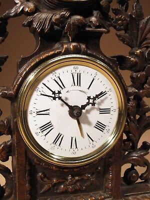 Rare Old Brown Colour Gild Cast iron Alarm mantel Clock Circa: 1890-1900 2