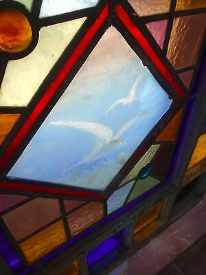 Eastlake stained glass window featuring painted and fired sea gulls 2