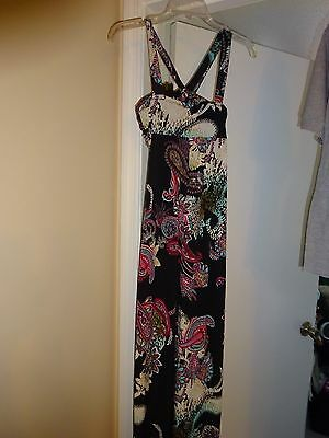 MOA MOA Black with Floral multi color Polyester Size Small Sundress Sun Dress 2
