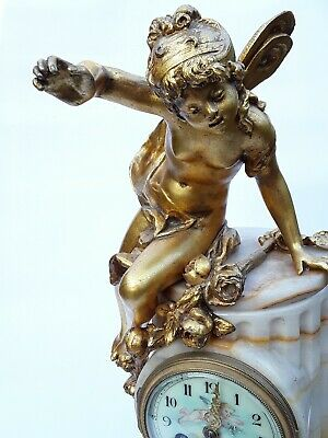 Antique French Onyx Marble Mantel Clock With Cherubs Gilt Bronze 8 Day 19Th C 9