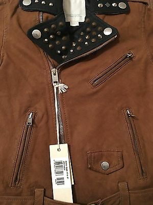 Diesel L-Ulisse Brown Studded Leather Jacket For Boys & Girls 10 Yrs Rrp £399 8