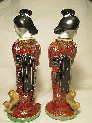 Japanese antique geshia girl kutani figurine art vtg fu dog statue imari pottery 3