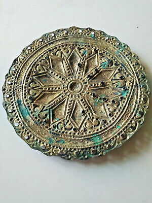 Ancient Byzantine bronze gilded ornament/adornment handmade carved details 3