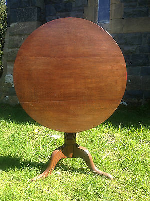 Antique GEORGIAN GEORGE III Oak Snap Tilt Top Tripod Table c1780OccasionalDining 8