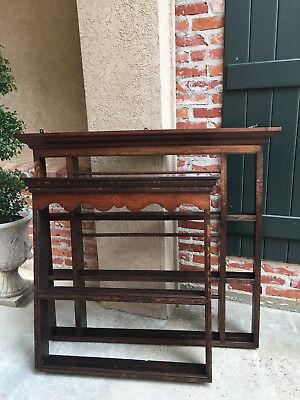 Antique English Carved Tiger Oak Plate Platter Wall Rack Display Shelf Kitchen 7