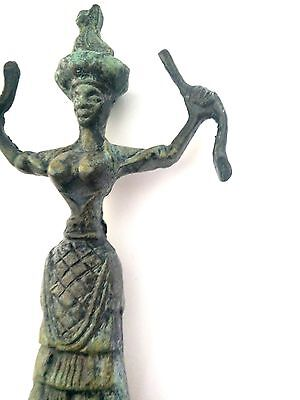 Ancient Greek Bronze Museum Statue Replica Of The Snake Goddess Collectable 1250 4