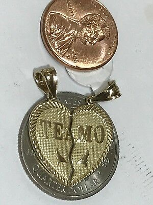 "GOLD TE AMO TeAmo Pendant 14k  Heart Broken Yellow Charm 2 Pc Split 1.05"" 2.5g 5"
