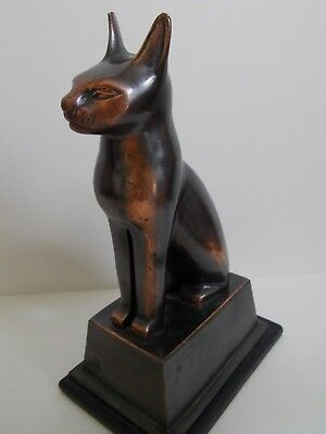 "19th - Antique / Vintage Egypt Egyptian Bronze Cat Figurine Statue 9"" 5"