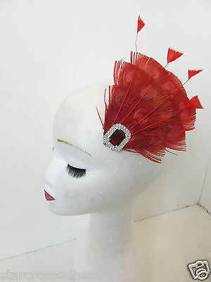 Red Peacock Feather Vintage Fascinator 1920s 1940s Races Hair Clip Art Deco P62 5