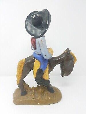 Vintage Gres Divertido Singer Cowboy Equitación Caballo Estatua Decoración Hogar 7
