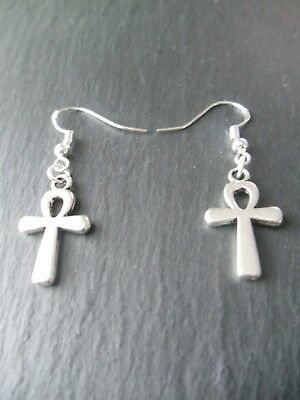Egyptian Ankh Earrings 925 Sterling Silver Hooks Good Luck Charm Key of Life 5