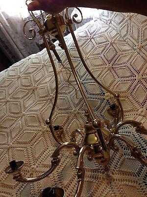 Large Brass Ornate 6 Arm Chandelier  (Massachusetts Pick-Up) 3