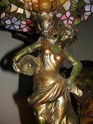 Vtg Deco Victorian Figurine Figural Table Lamp Chandelier Glass Shade Fixture 6