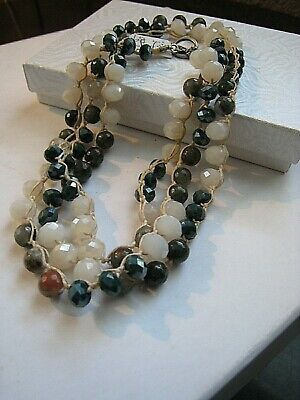 Old Soul Jewelry  Necklace Long  Earthy Agate, Jasper Cream Teal Crystal  NWOT 2