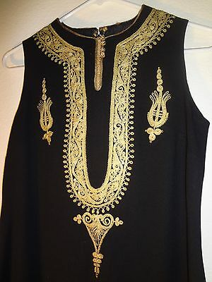 Rare Antique Middle Eastern Dress Hand Embroidered With Golden Thread 2