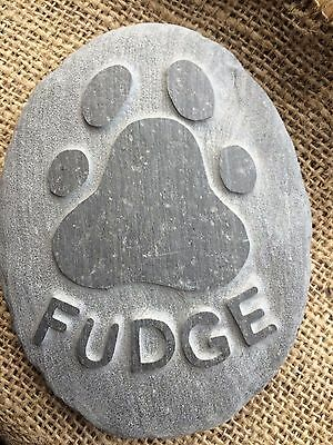 Personalised hand carved paw print, name into stone, pet memorial, dog, cat 2