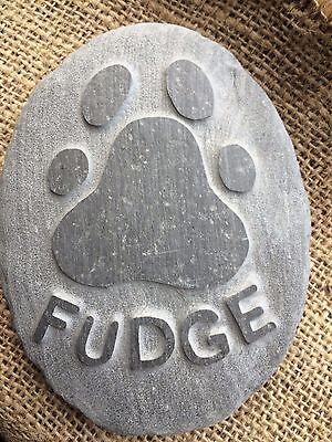 Personalised handcarved paw print & name in stone, pet memorial, dog, cat beach 2