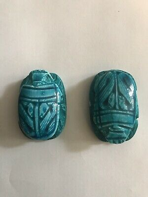 2x_Egyptian Pharaoh Scarab Paperweight Sculpture, Hand Carved ceramic, (4x3) Cm 4