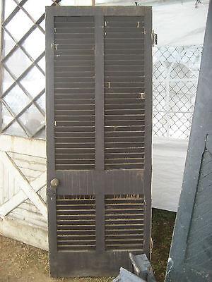 "SOLID - circa 1890 VICTORIAN shutter screen door w louvers 77.5"" x 30"" x 1.25"" 6"