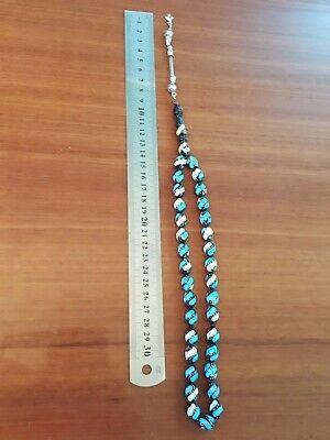 Black Coral Prayer Beads Yusr Rosary Inlaid With Seashell Tuurquoise Masbaha Nu3 5