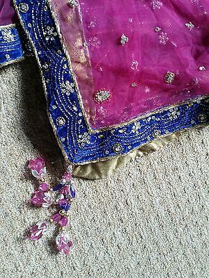 Shocking Pink & Royal Blue Heavy Jewelled  Diamante Work Shrara /wedding/party 8