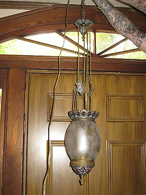 Antique Ceiling Light Fixture, Bronze,Champleve,Orginal Etched Glass Shade 3