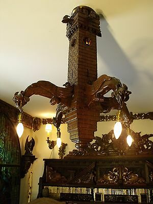 19C French Gothic Carved Oak Castle Tower 8 Gargoyle Chandelier 2