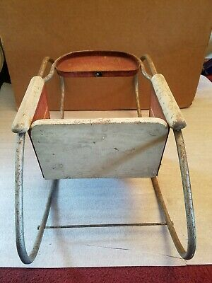 Antique Vintage Metal & Wood Oak Hill Co. Toddlers/Doll Rocker Playchair 6