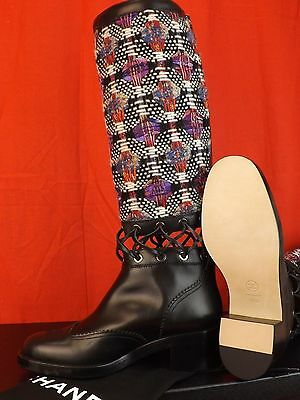 f53d200854d 5 of 12 16K Nib Chanel Multi Color Tweed Leather Cutout Corset Tall Runway  Boots 41
