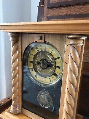 Rare Antique Wurttemburg German Beech Cased Mantle Bracket Clock 10