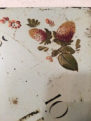 Antique Grandfather Clock Dial Painted Strawberries & Flowers Hanson Yaxley 4