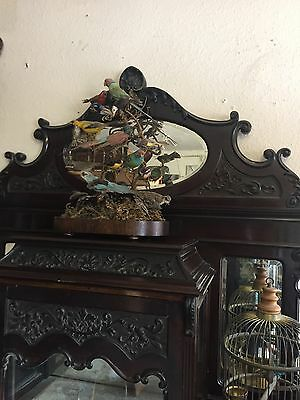 STUNNING MIRROR BACKED EMPIRE CABINET CARVED GLASS DISPLAY 7ft ANTIQUE 8