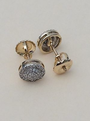 10K Yellow Gold Diamond Studs Concave Kite Pave Mens Ladies Earrings Small Girls