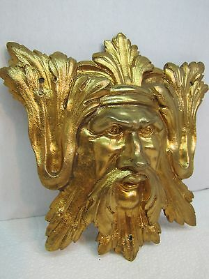 Exquisite 19c Antique Brass Figural Face Ornate High Relief Scary Architectural 3