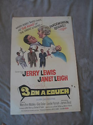 3 on a Couch 1966 JERRY LEWIS Bob Ross Janet Leigh One Sheet Movie Poster VG C6