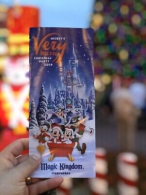 NEW Mickey's Very Merry Christmas Party MVMCP 2019 Park Map + Bonus Map!! WDW 6