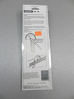"""Protractor General Tool No.18 Round Head Stainless Steel 6"""" 0-180 Degree 22024 10"""