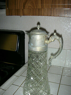 Tall Vintage Godinger Silver Plated lid, Lead Crystal Water Pitcher 7