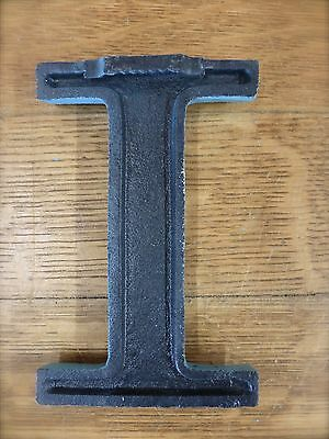 "BLUE CAST IRON WALL LETTER ""I"" 6.5"" TALL rustic vintage decor sign child nursery 5"