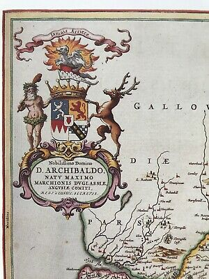 Historic Antique vintage Old Map: Nithsdale, River Nith,  Scotland 1600s REPRINT 3