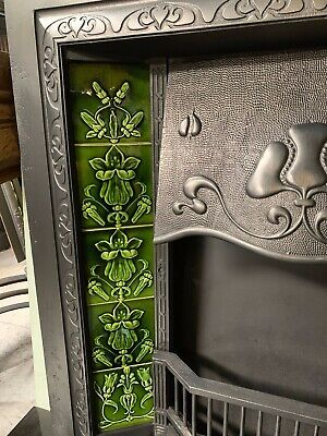 Original Antique Art Nouveau cast iron Fireplace Insert Nouveau Majolica Tiles 4