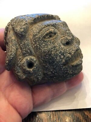 "Pre-Columbian Mixtec ""Life / Death Duality"" Stone Pendant Mask 800 - 1500 AD 12"