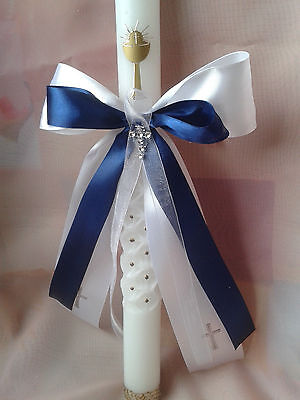 Kommunion,Taufe,Tropfschutz,Kerzenschleife,Kerzenschmuck,Geburt,Baby,Kreuz blau