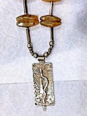 Antique Pre Columbian Jade & Silver Necklace Pendant Snag Design 2