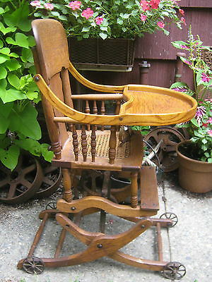 Primitive Antique Wicker Baby High Chair Rocker Stroller Cast Iron Toy Wheels 12