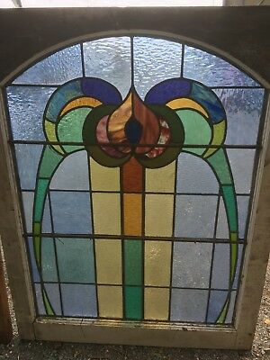 Old Leadlight Stained Glass Windows Australian Antique Fixed Panel 4
