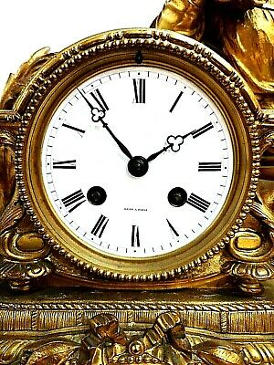 Fabulous 19th Century Ormolu Gilt Bronze Dent Mantel clock 3